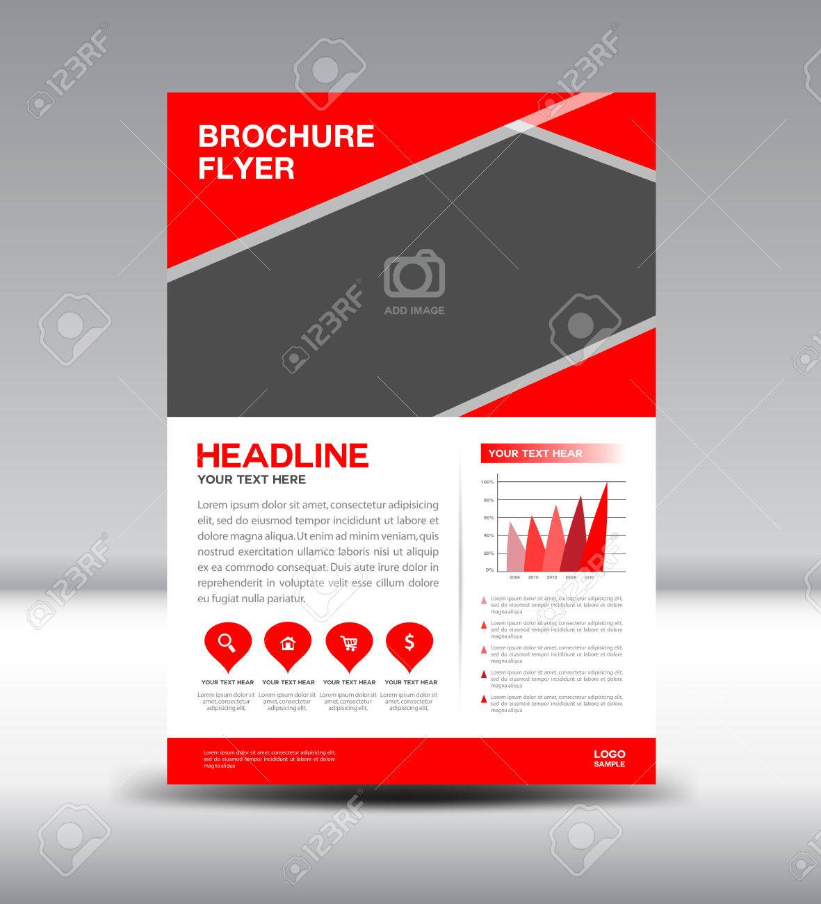 Red Brochure,Cover Design, Magazine, Fl-yer Template, Presentation ...
