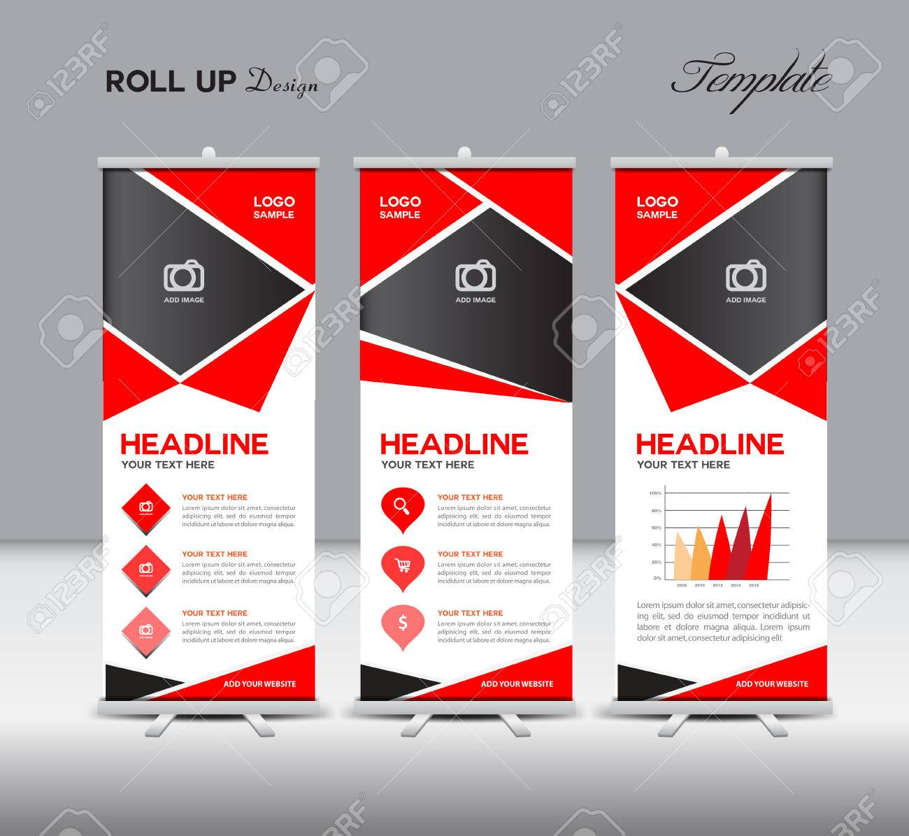 red roll up and info graphics template design stan dy template red roll up and info graphics template design stan dy template advertisement