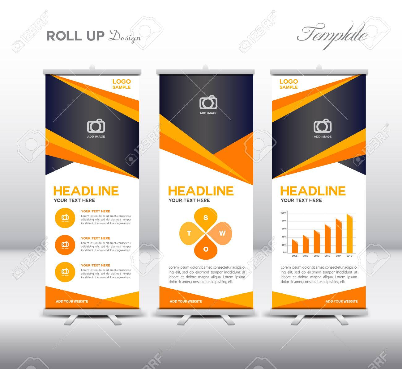 orange roll up banner template and info graphics elements stand