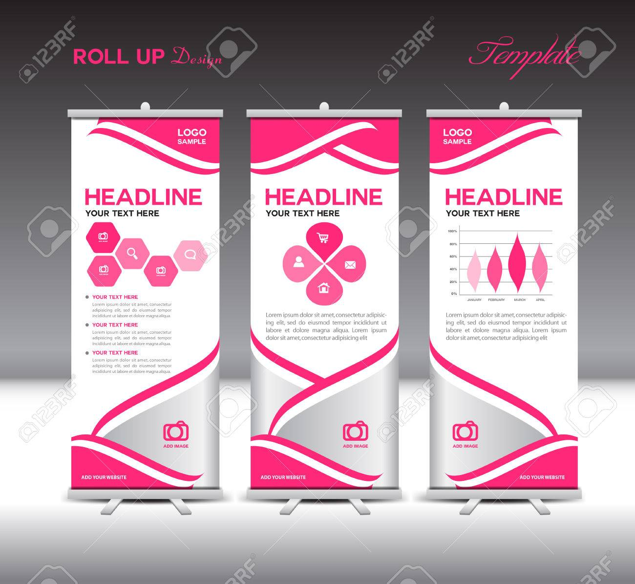 Pink Roll Up Banner Template And Info Graphics Elements, Stand ...