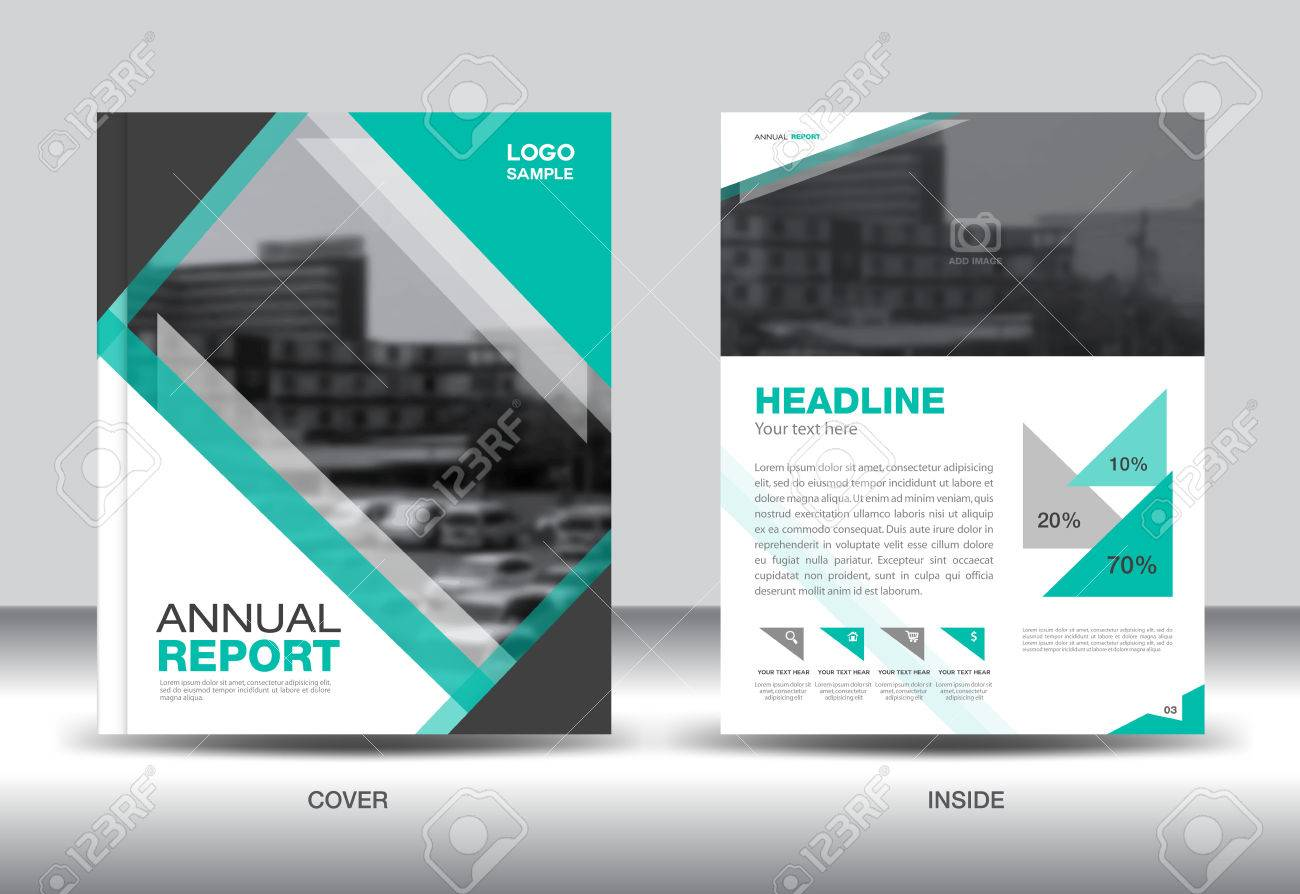 Green Annual Report Template,green Cover Design,book Cover, Brochure Fl Yer,