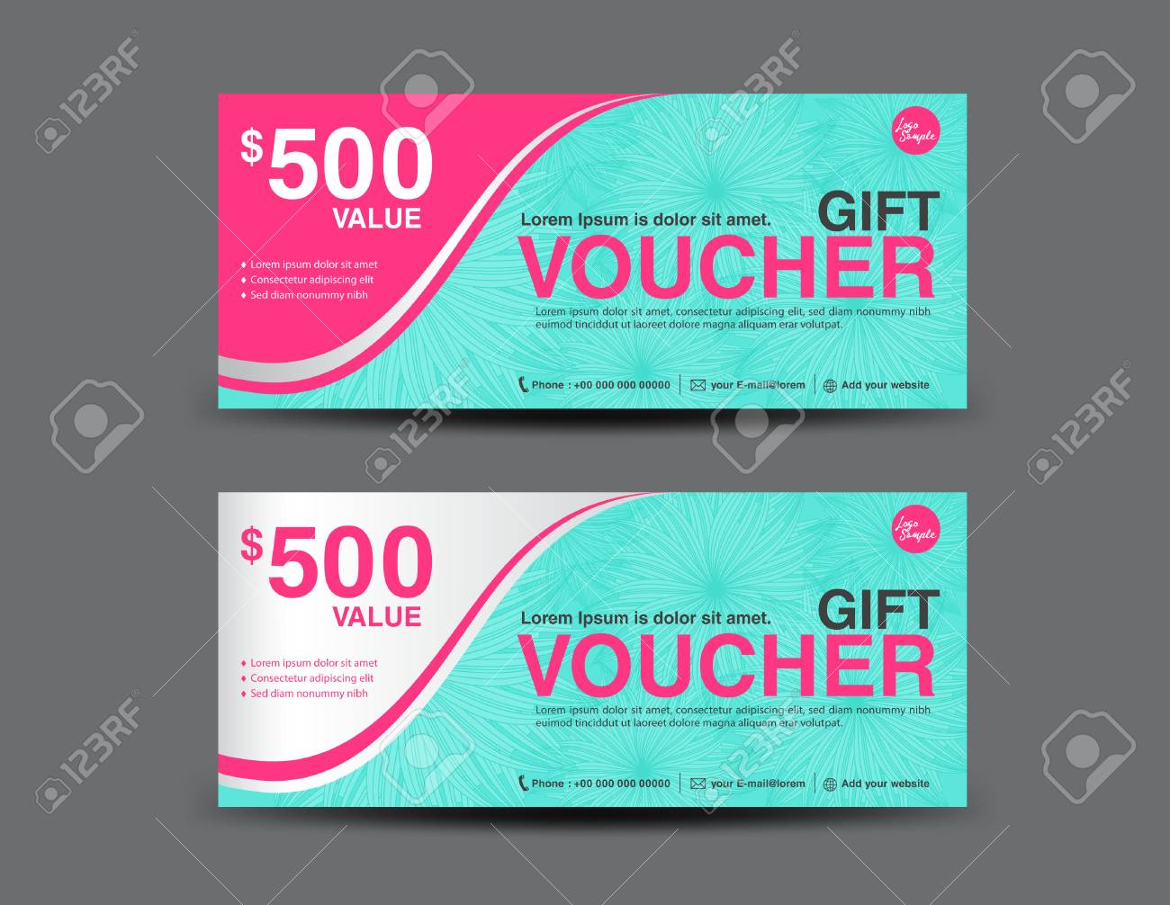 Gift Voucher Template Design With Flower Background,coupon Design ...