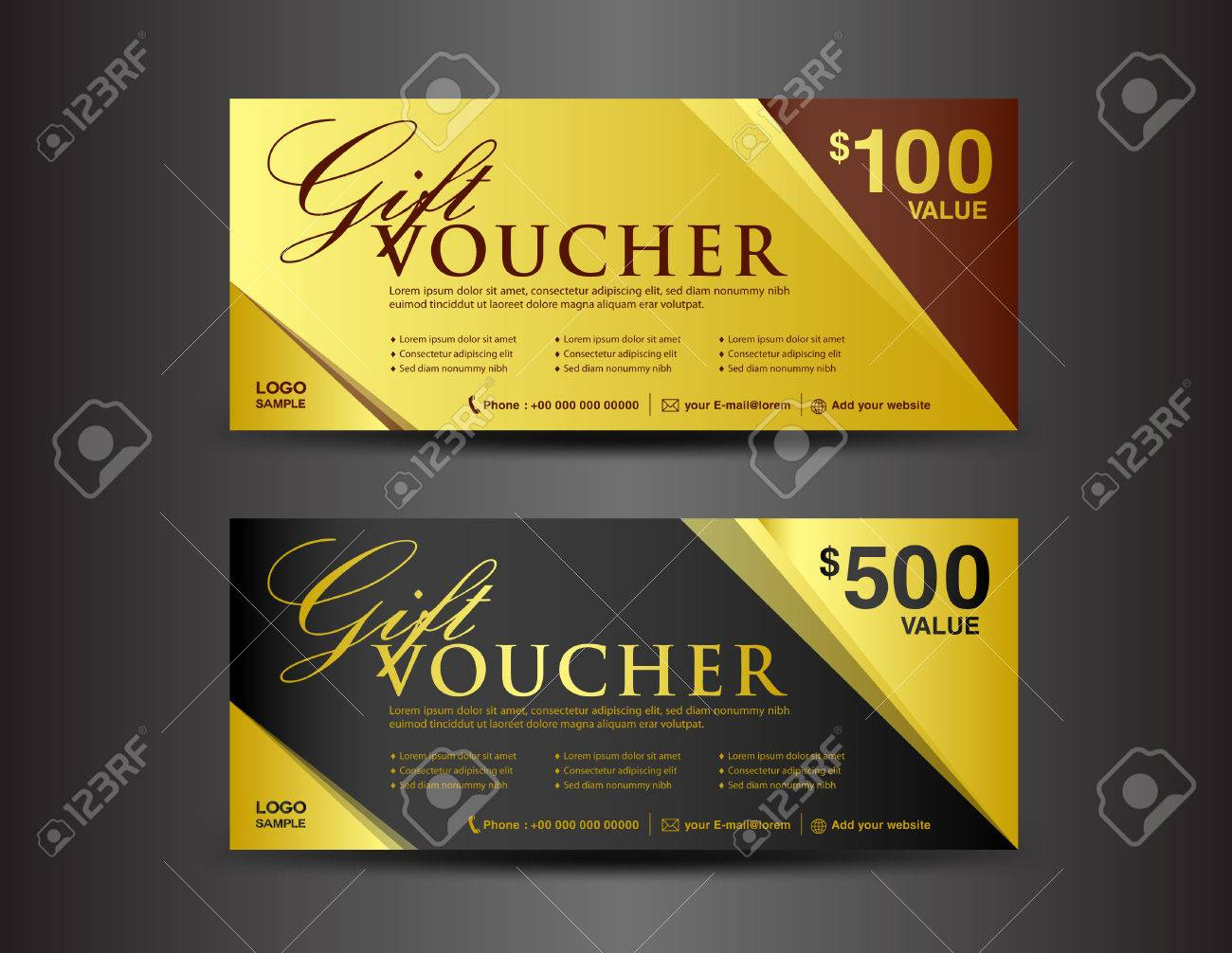 Gold And Black Gift Voucher Template, Coupon Design,ticket,vector,business  Banner  Business Voucher Template