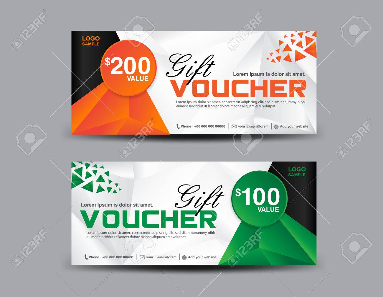Orange And Green Gift Voucher Template, Coupon Design,ticket,cards ...