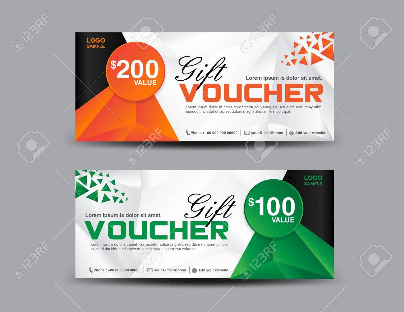Orange Und Grüne Geschenk-Gutschein Vorlage, Coupon-Design, Ticket ...