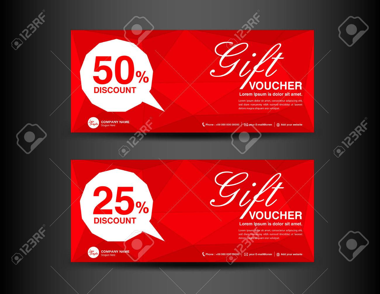 Red Discount Voucher Template, Coupon Design,ticket, Banner,cards,polygon  Background  Discount Voucher Design