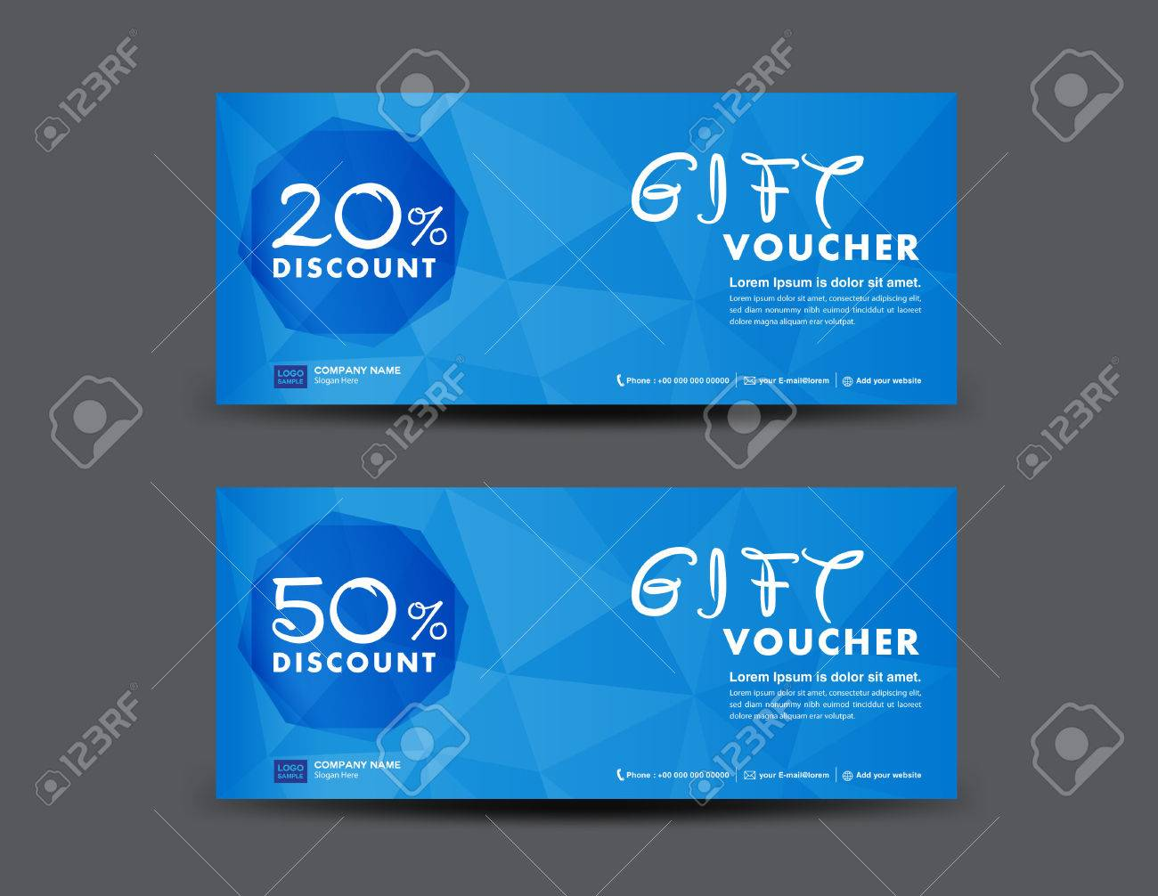 Design of discount card - Blue Discount Voucher Template Coupon Design Ticket Banner Cards Polygon Background