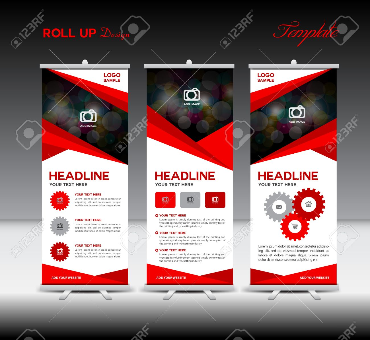 Red Roll Up Banner template and info graphics, stand design,banner template, illustration - 56069841