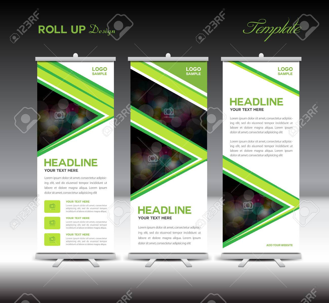 roll up banner template stand template advertisement layout design roll up banner template stand template advertisement layout design banner template green background stock vector
