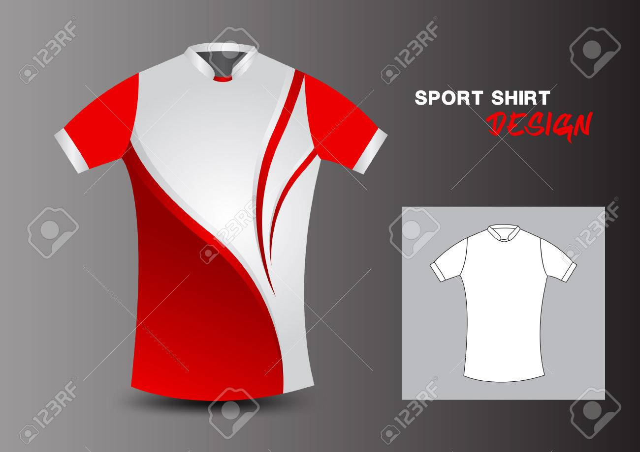 6f907c6a277f Red And White Sport Shirt Design Vector Illustration