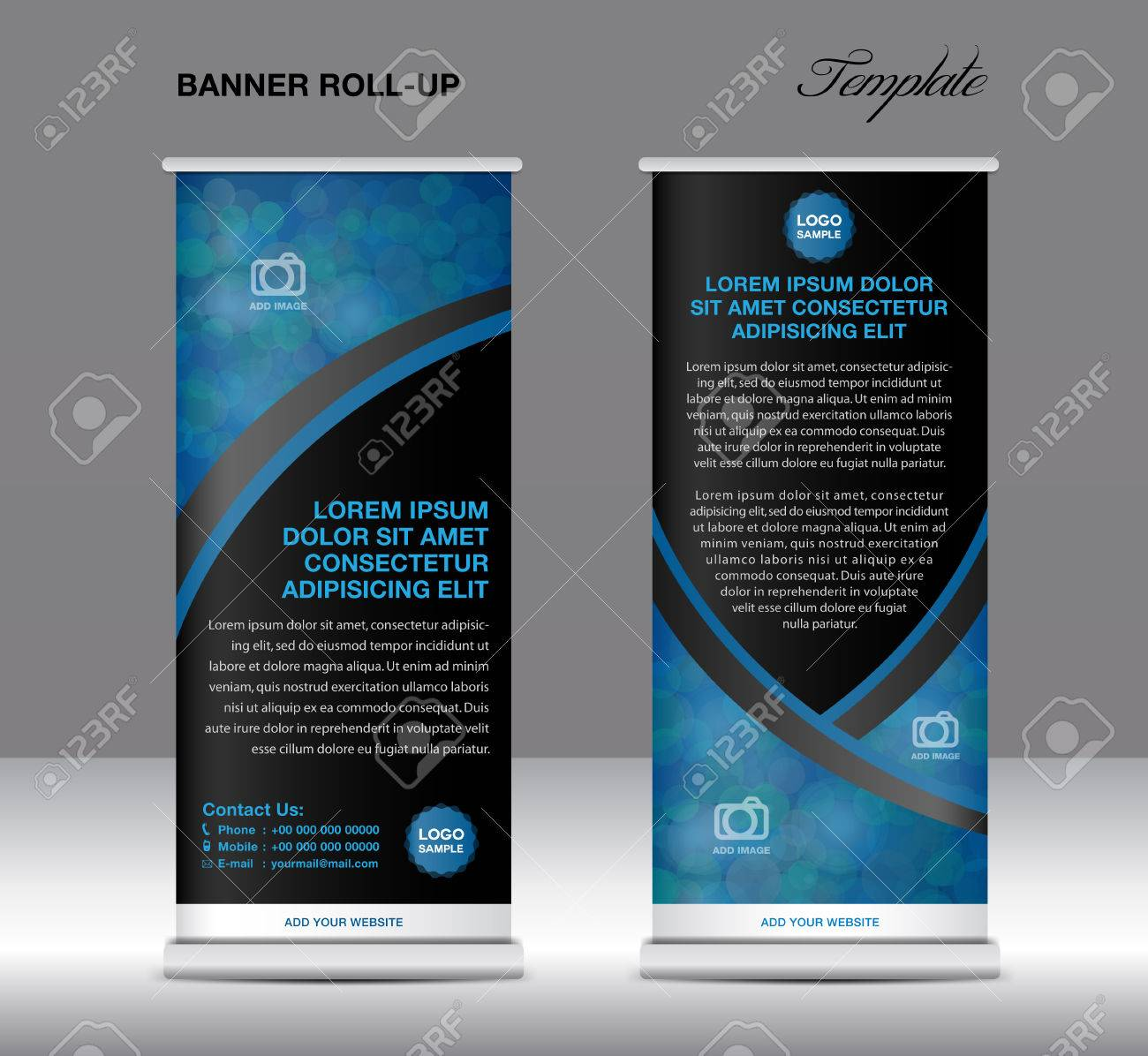 Blue And Black Banner Stand Template, Stand Design,banner Template ...