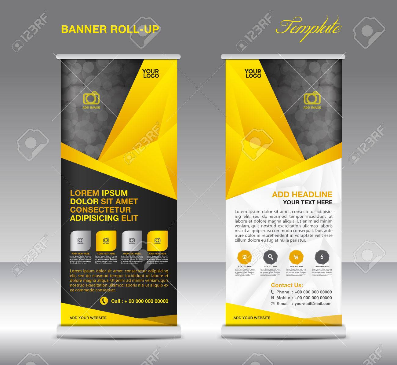 Yellow Roll Up Banner Stand Template, Stand Design,banner Template ...