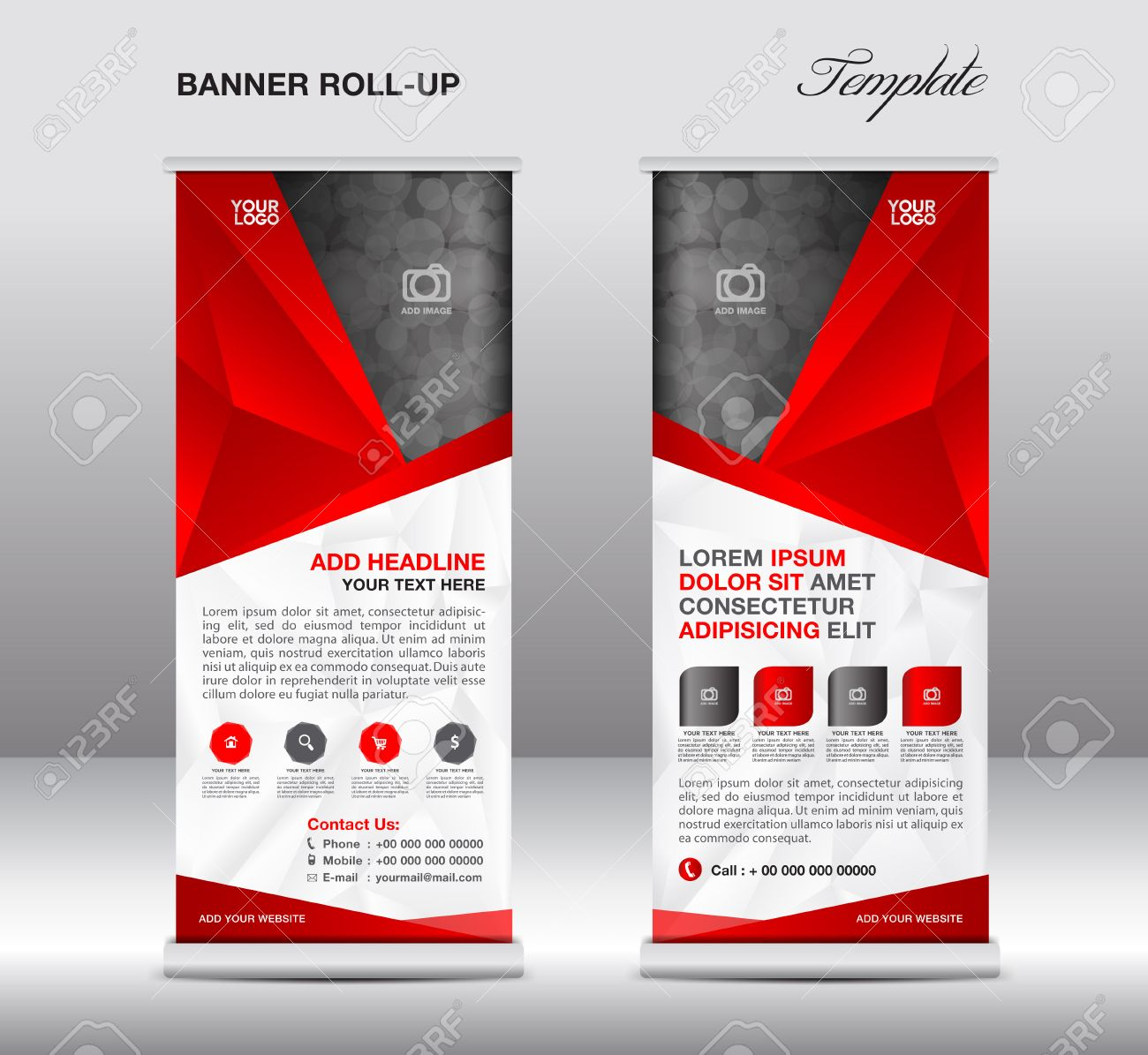 Red Roll Up Banner Stand Template, Stand Design,banner Template ...