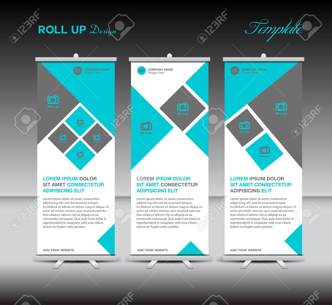 blue roll up template display advertisement layout design blue roll up template display advertisement layout design illustration stock vector 57839019