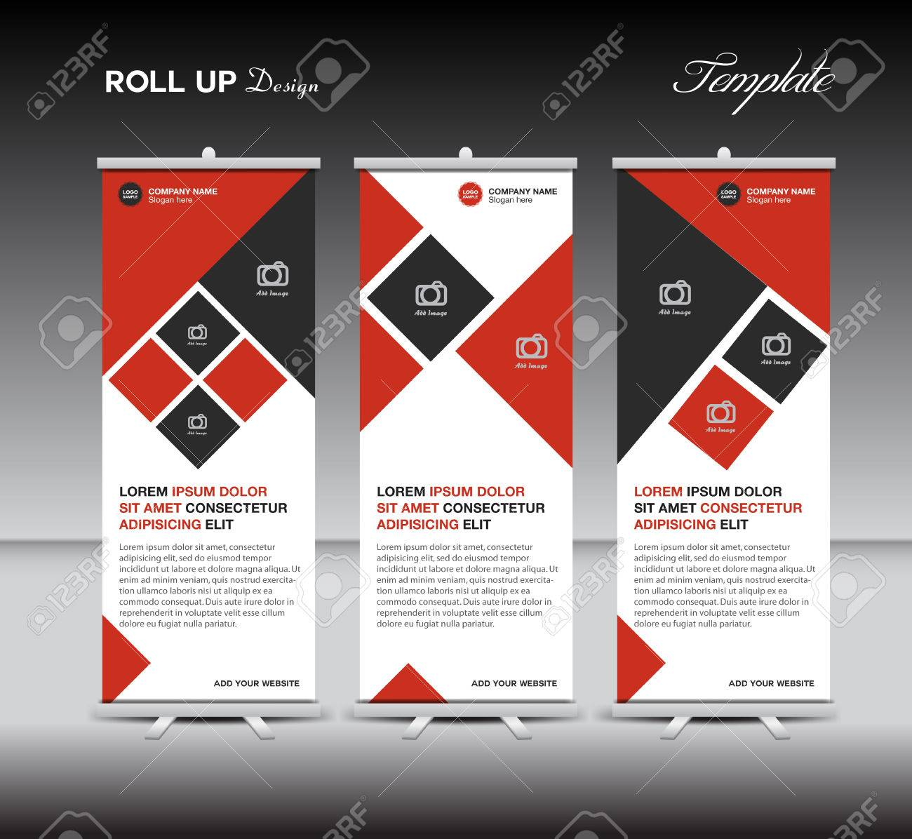 red roll up banner template display advertisement layout design red roll up banner template display advertisement layout design illustration stock vector 57839023
