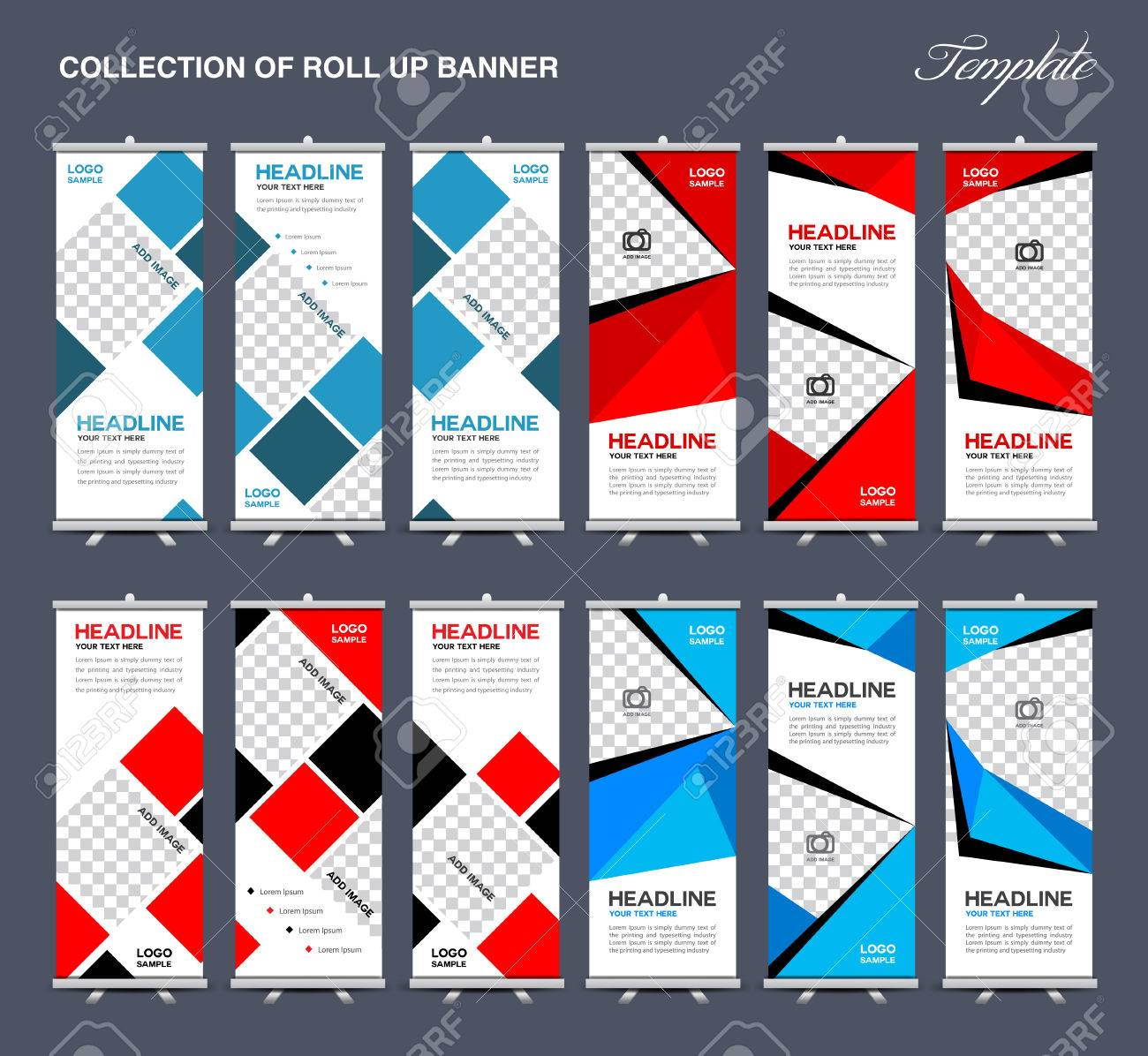 collection of roll up banner design polygon backgroundflyers banners labels roll