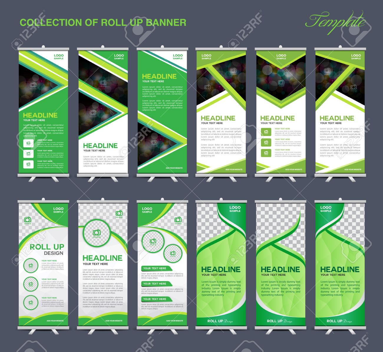 collection of green roll up banner design polygon backgroundflyers banners labels