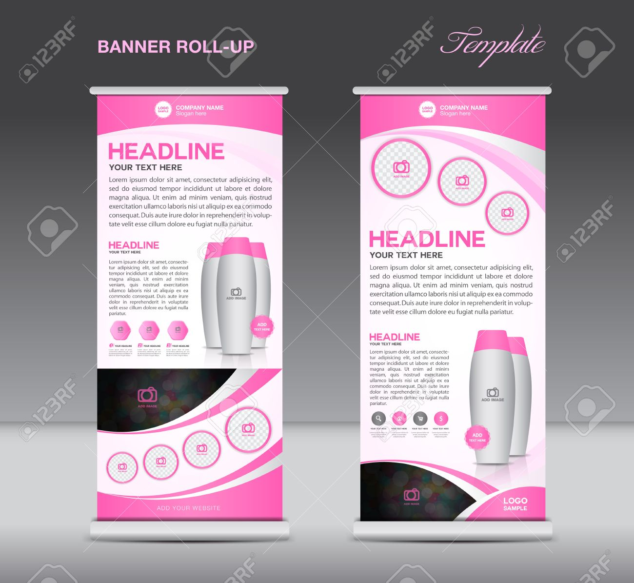 Pink Roll Up Banner Stand Template Flyer Design, Display, Poster ...