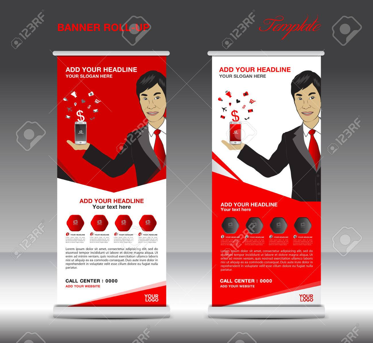 red roll up banner template and business man mobile infographics red roll up banner template and business man mobile infographics stand display advertisement vector
