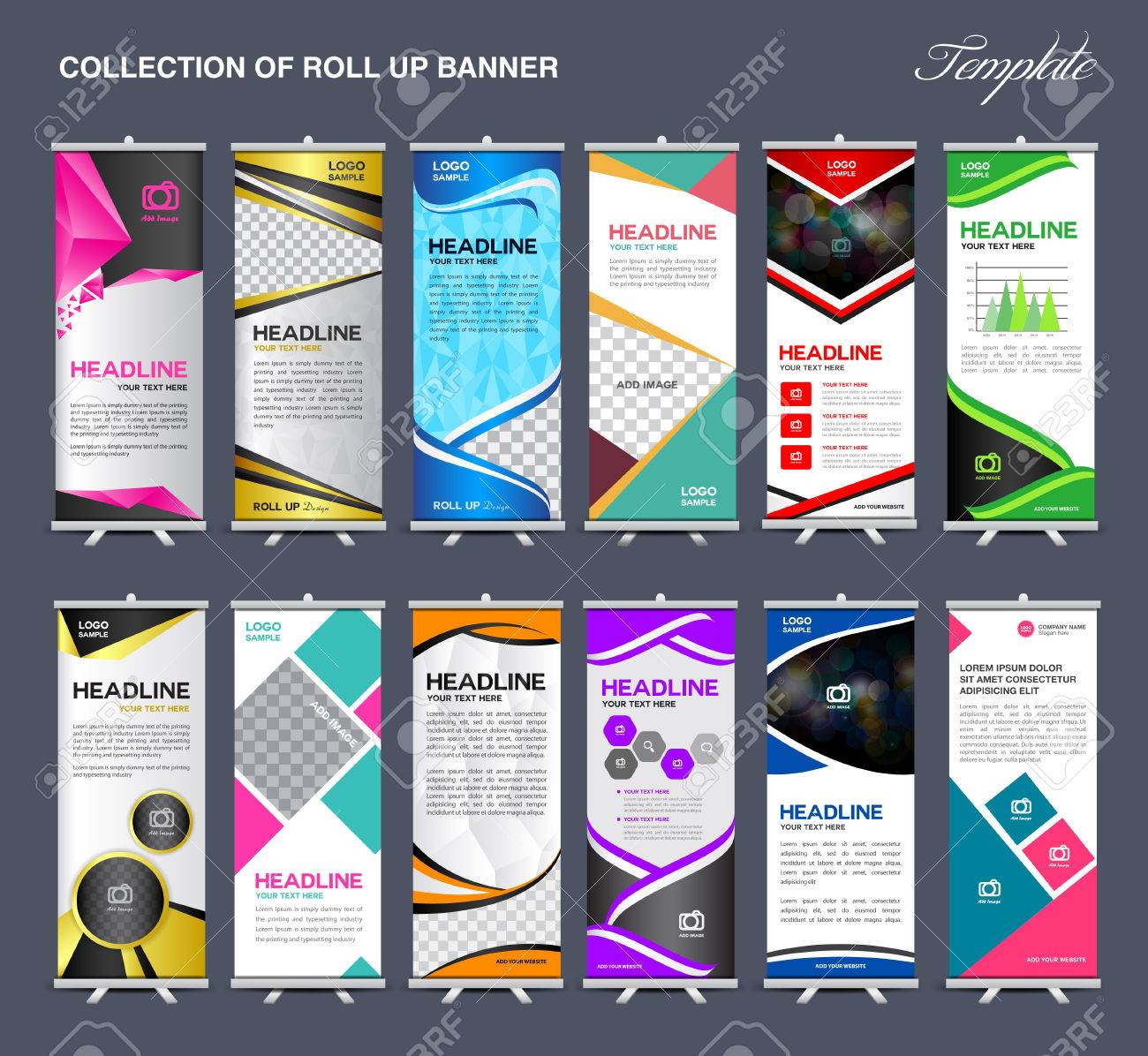Roll Up Banner Template Collection Stand Template Vector Flyer