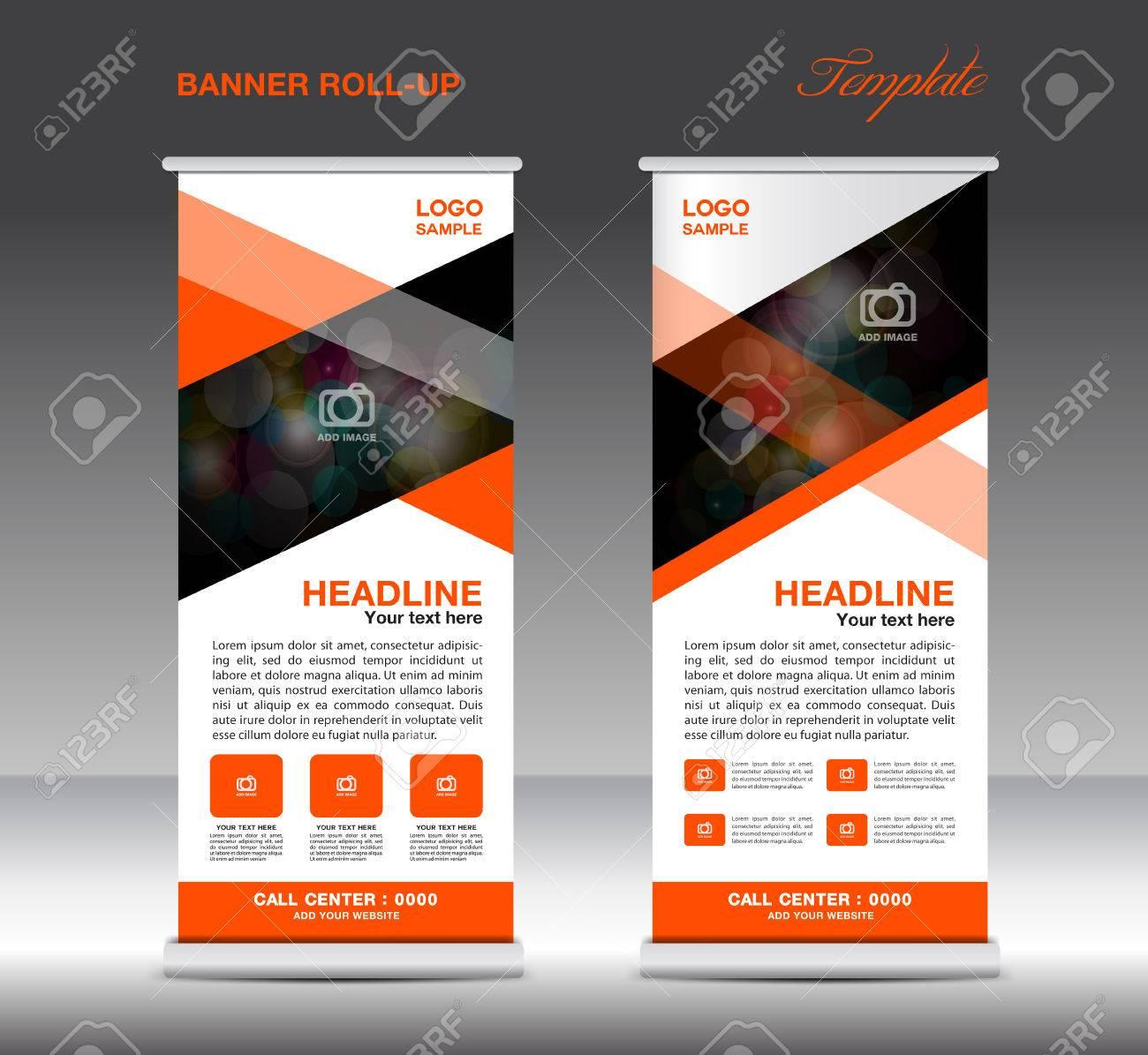 orange roll up banner template vector standy design display