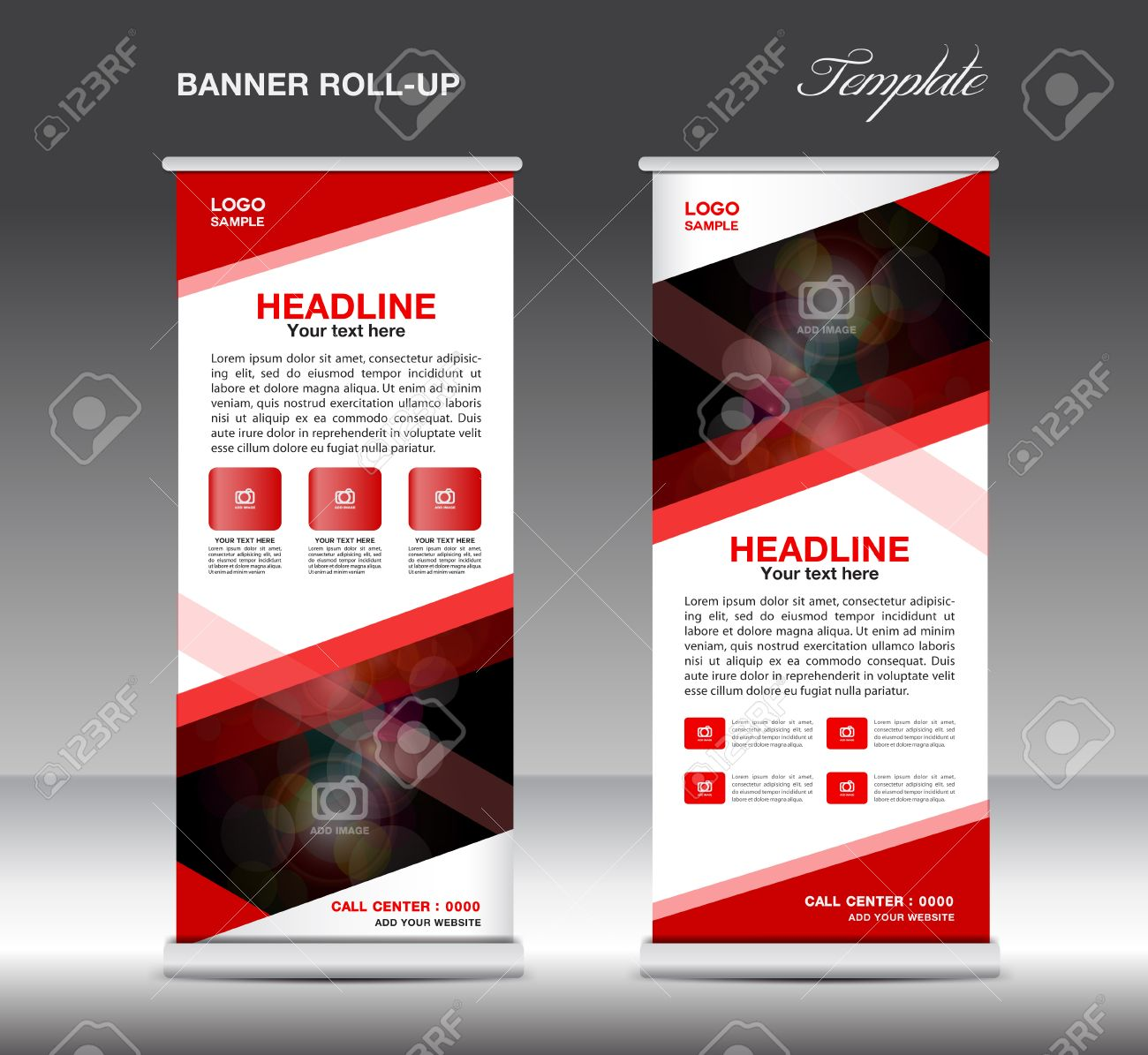 red roll up banner template vector standy design display