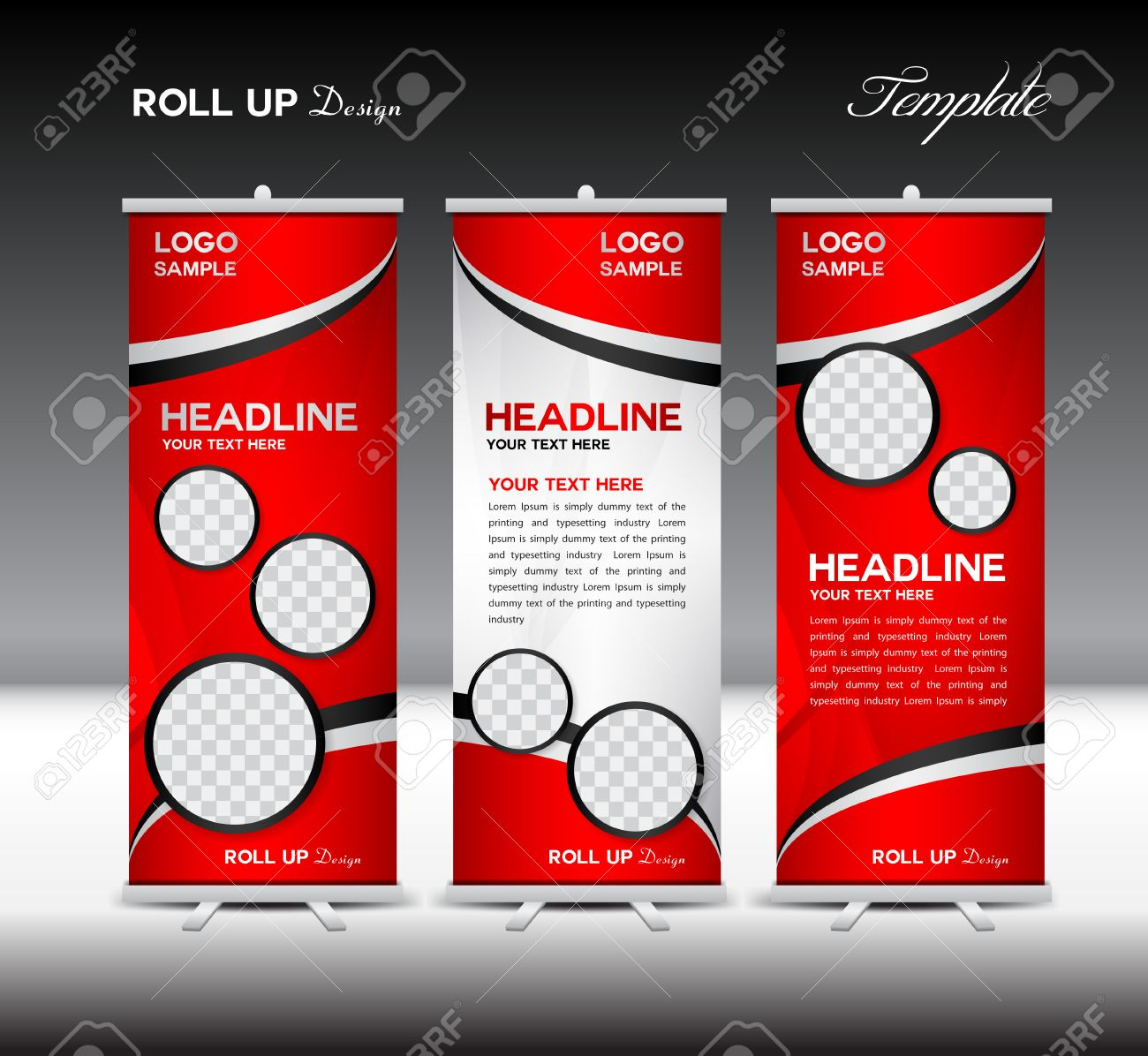 Design for roll up banner - Red Roll Up Banner Template Vector Illustration Roll Up Stand Banner Design Advertisement