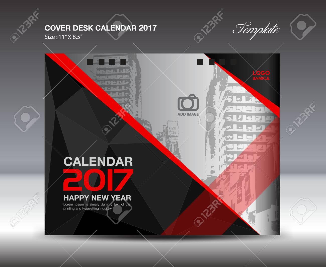 Calendrier de bureau pour année noir et rouge couverture