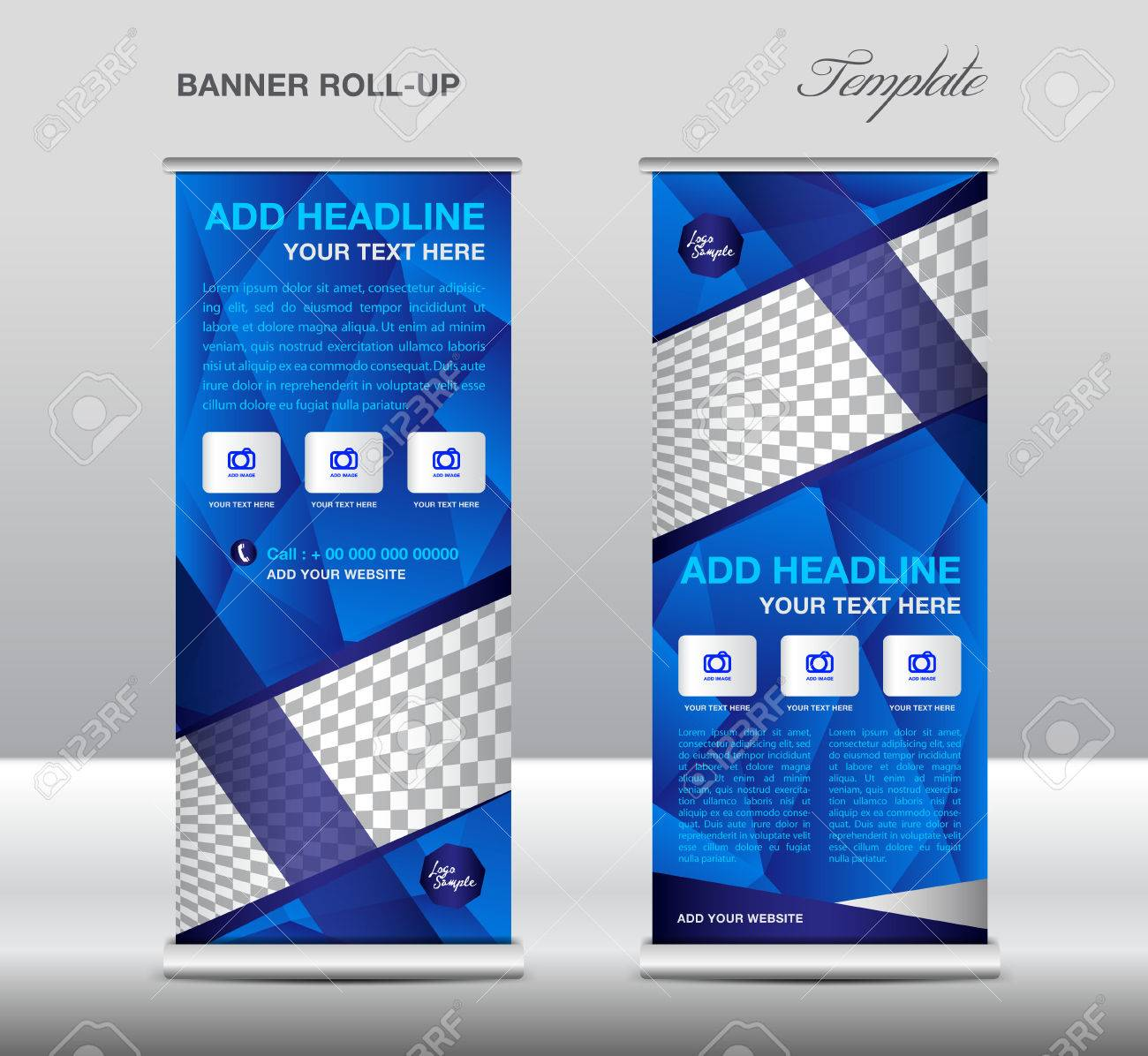 Blue Roll Up Banner Template Vector Roll Up Stand Banner Design