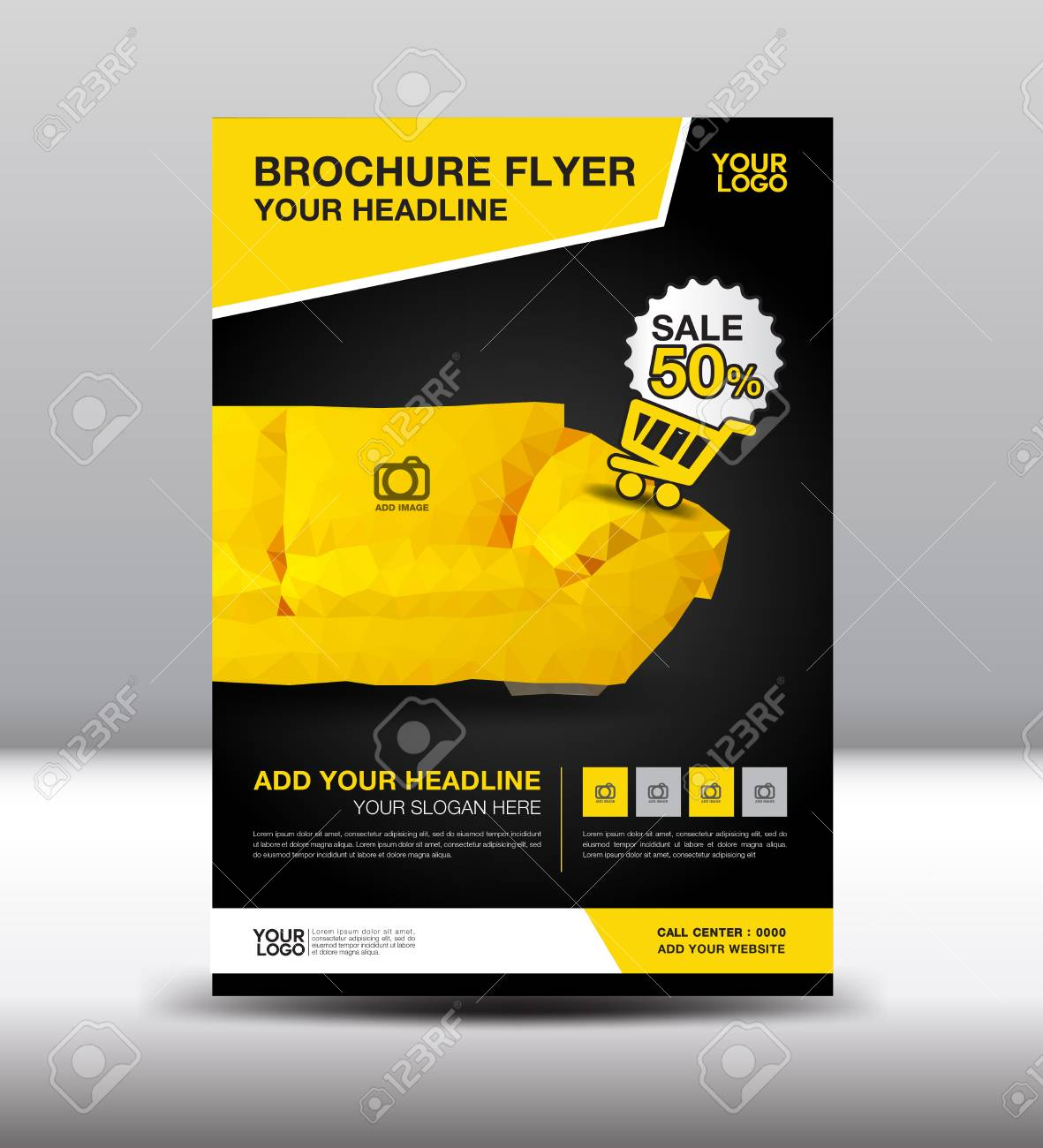 Gelbe Geschäftsbroschürenflieger-Entwurfsplanschablone In Der Größe ...