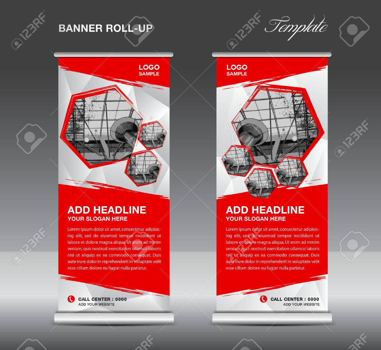 Red Roll Up Banner Template Vector, Roll Up Stand, Banner Design ...