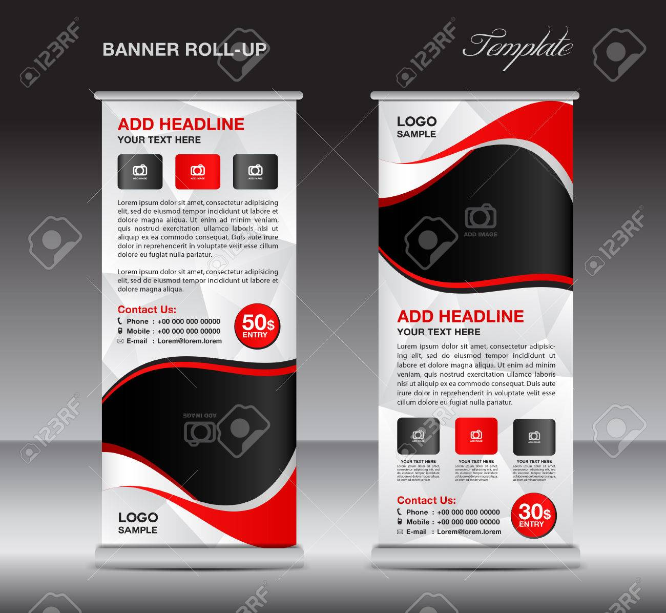 Red Roll Up Banner Template, Stand Template, Stand Design, Banner ...