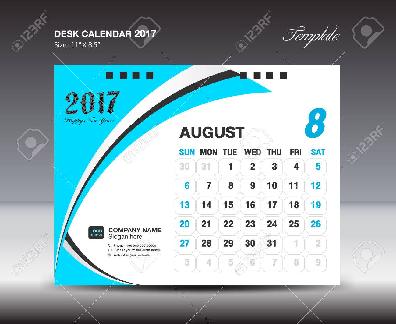 August Desk Calendar 2017 Design Template Blue Calendar 2017