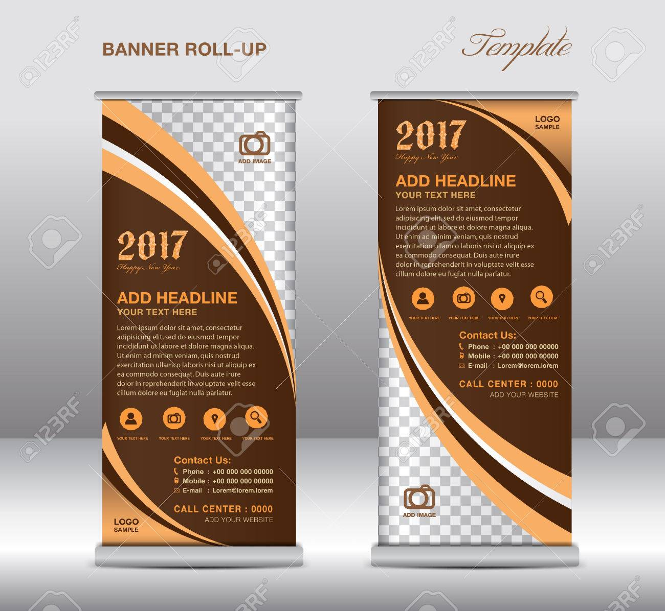 Brown Roll Up Banner Template Banner Design Stand Template