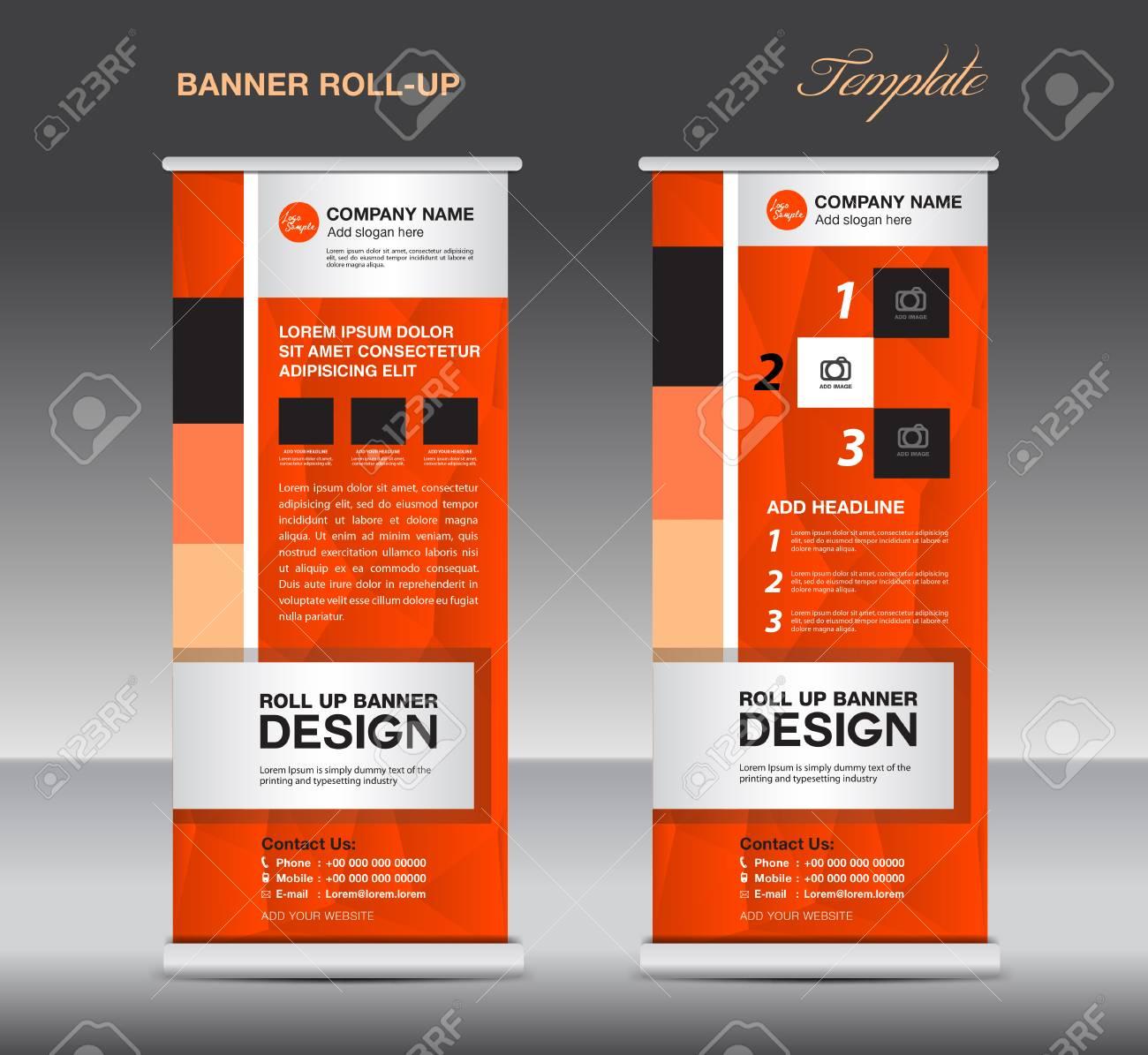 Orange Roll Up Banner Template Vector Illustration, Standy Design ...
