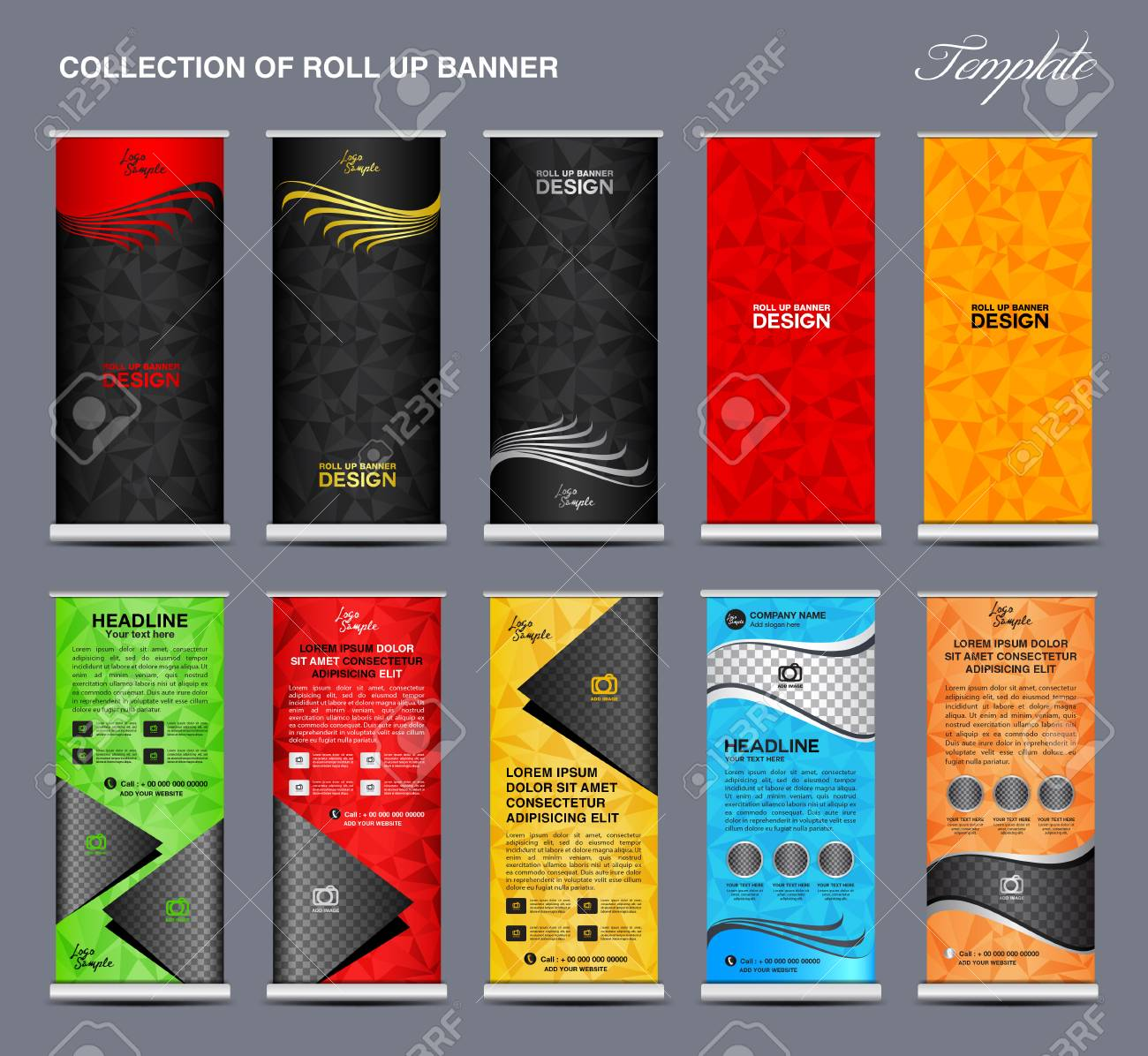 collection of colorful roll up banner design stand template polygon background banner design
