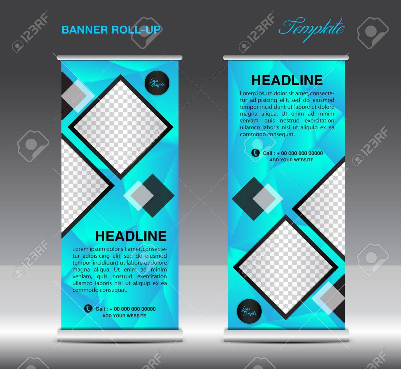 Blue Roll Up Banner Template Vector Illustration, Standy Design ...