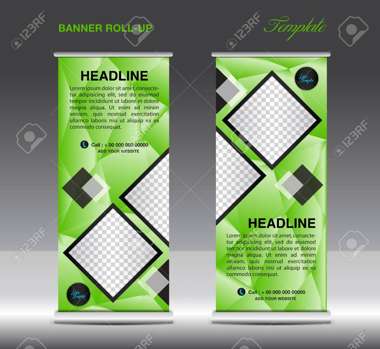 green roll up banner template vector illustration standy design