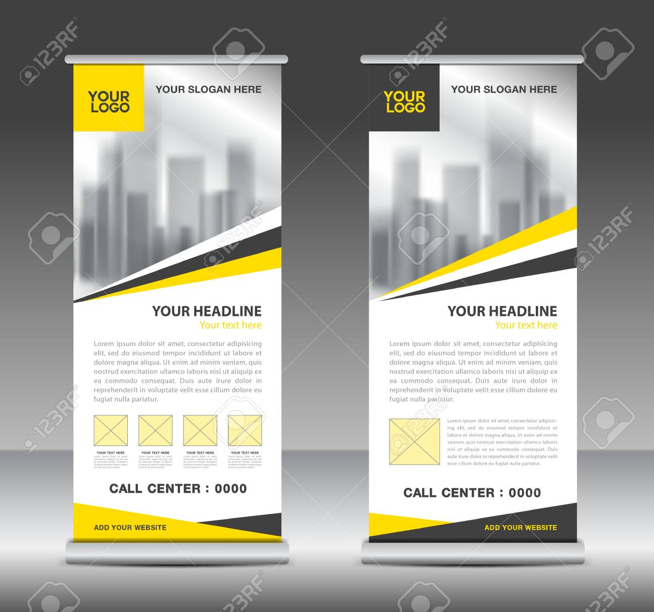 yellow roll up business brochure flyer banner design vertical