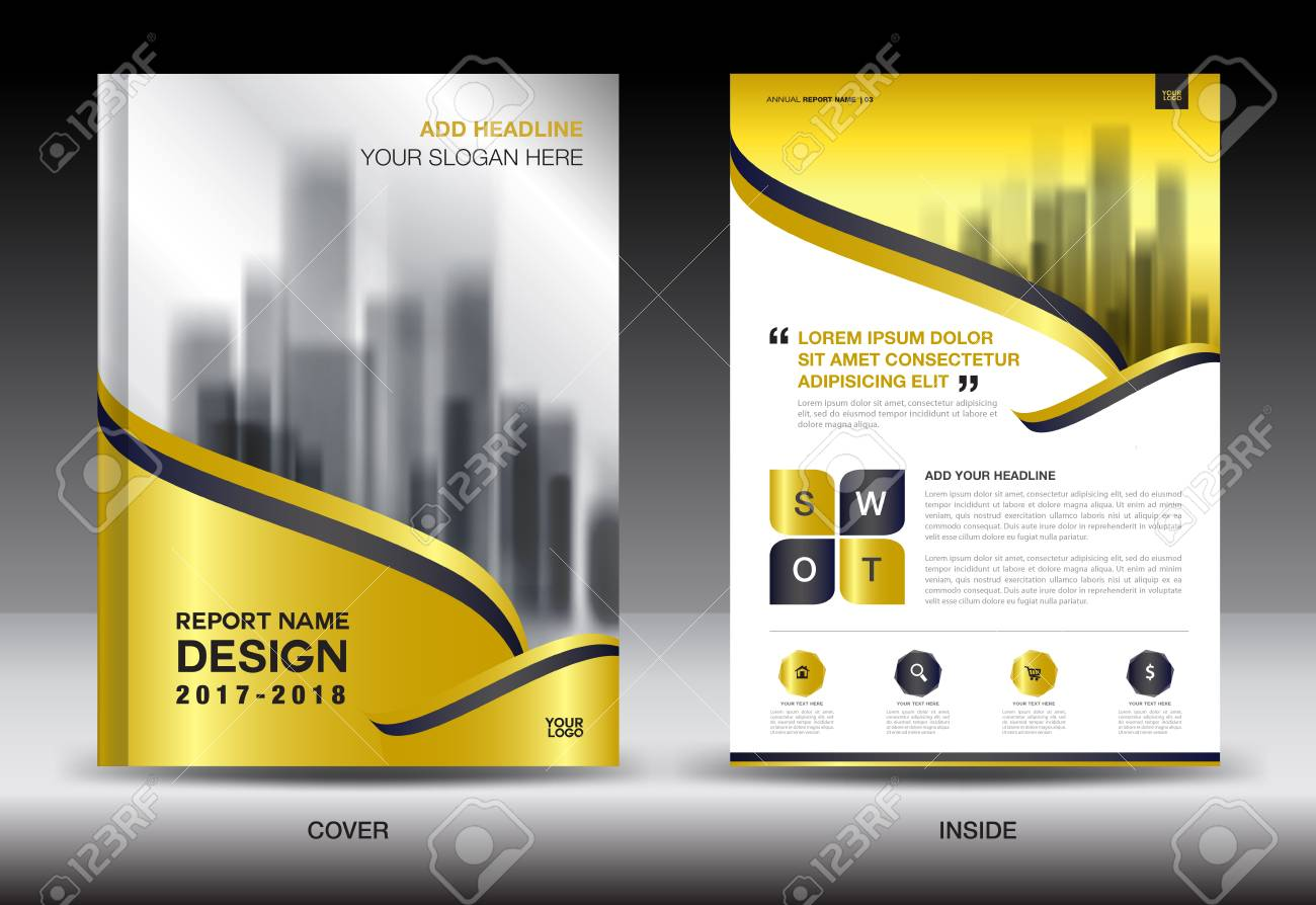 gold cover annual report brochure flyer template creative design cover design cover and inside page