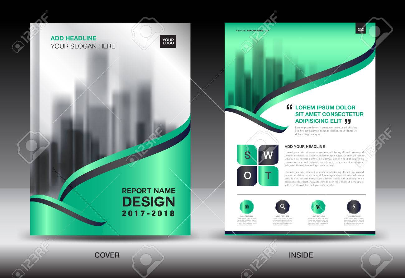 green cover annual report brochure flyer template creative design cover design cover and inside page