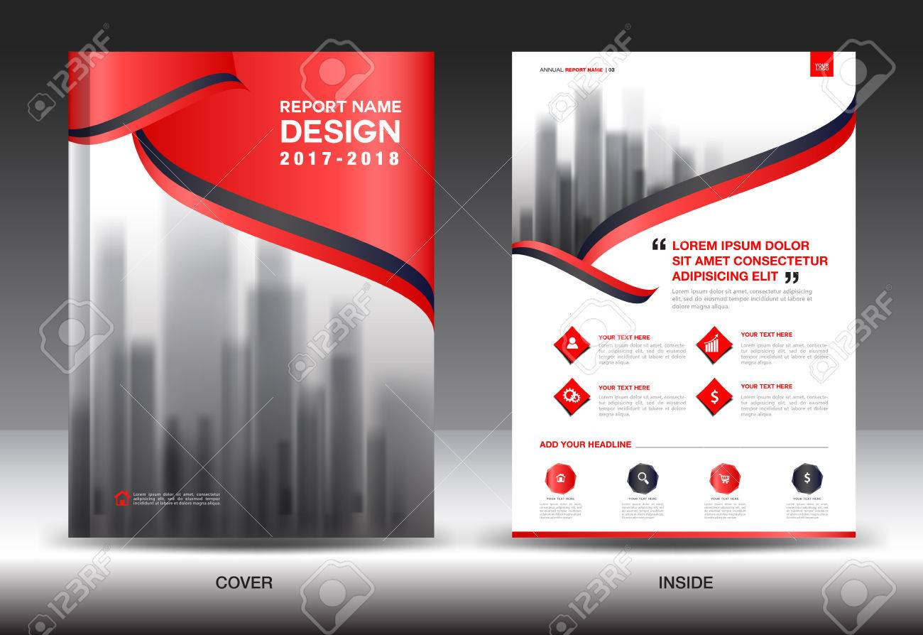 red cover annual report brochure flyer template creative design cover design cover and inside page