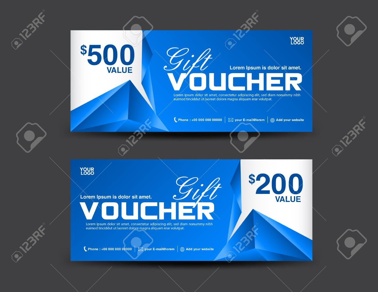 Gift Voucher Template Coupon Design Blue Gift Certificate - Gift certificate template add logo