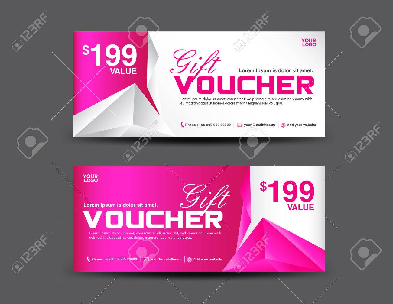 Gift Voucher Template Coupon Design Pink Gift Certificate - Gift certificate template add logo
