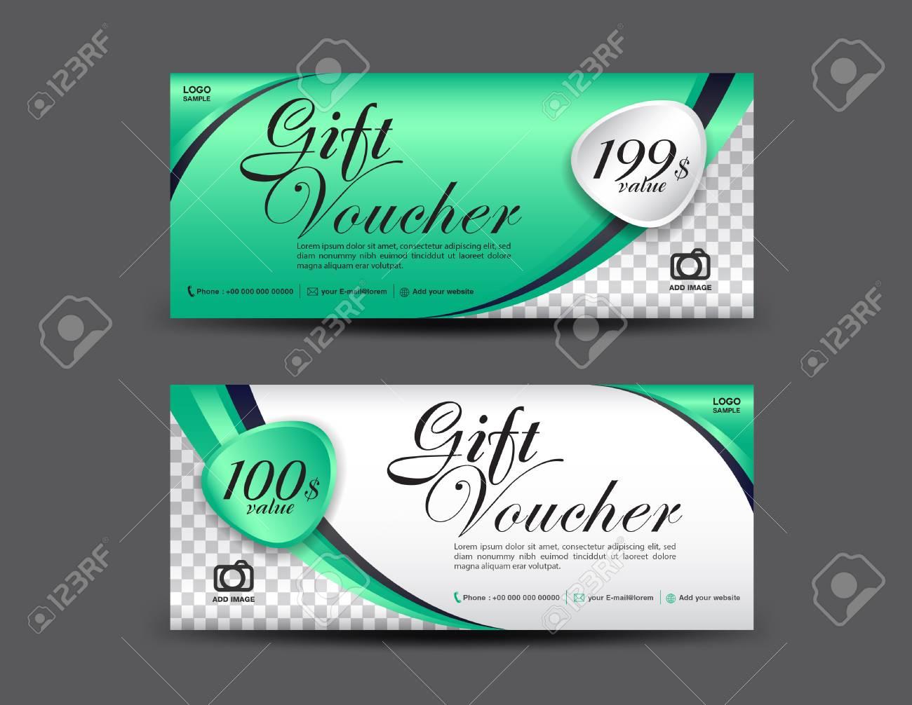 green gift voucher template coupon design gift certificate