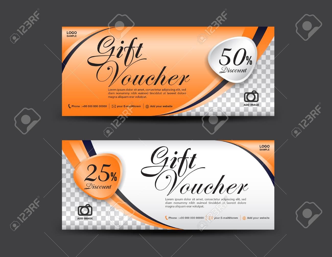Orange Gift Voucher Template Coupon Design Gift Certificate - Gift certificate template add logo