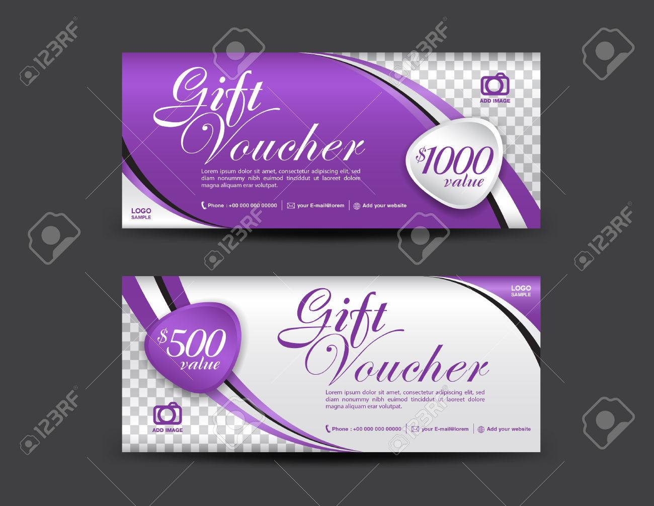 Purple Gift Voucher Template Coupon Design Gift Certificate - Gift certificate template add logo