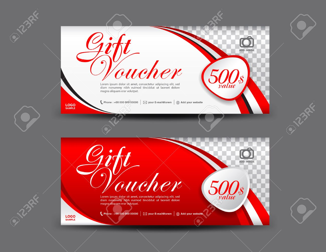 Red Gift Voucher Template Coupon Design Gift Certificate Ticket - Gift certificate template add logo