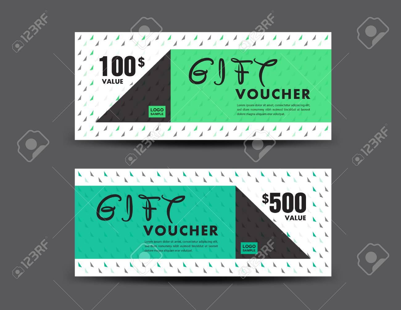 green discount voucher template coupon design ticket gift voucher