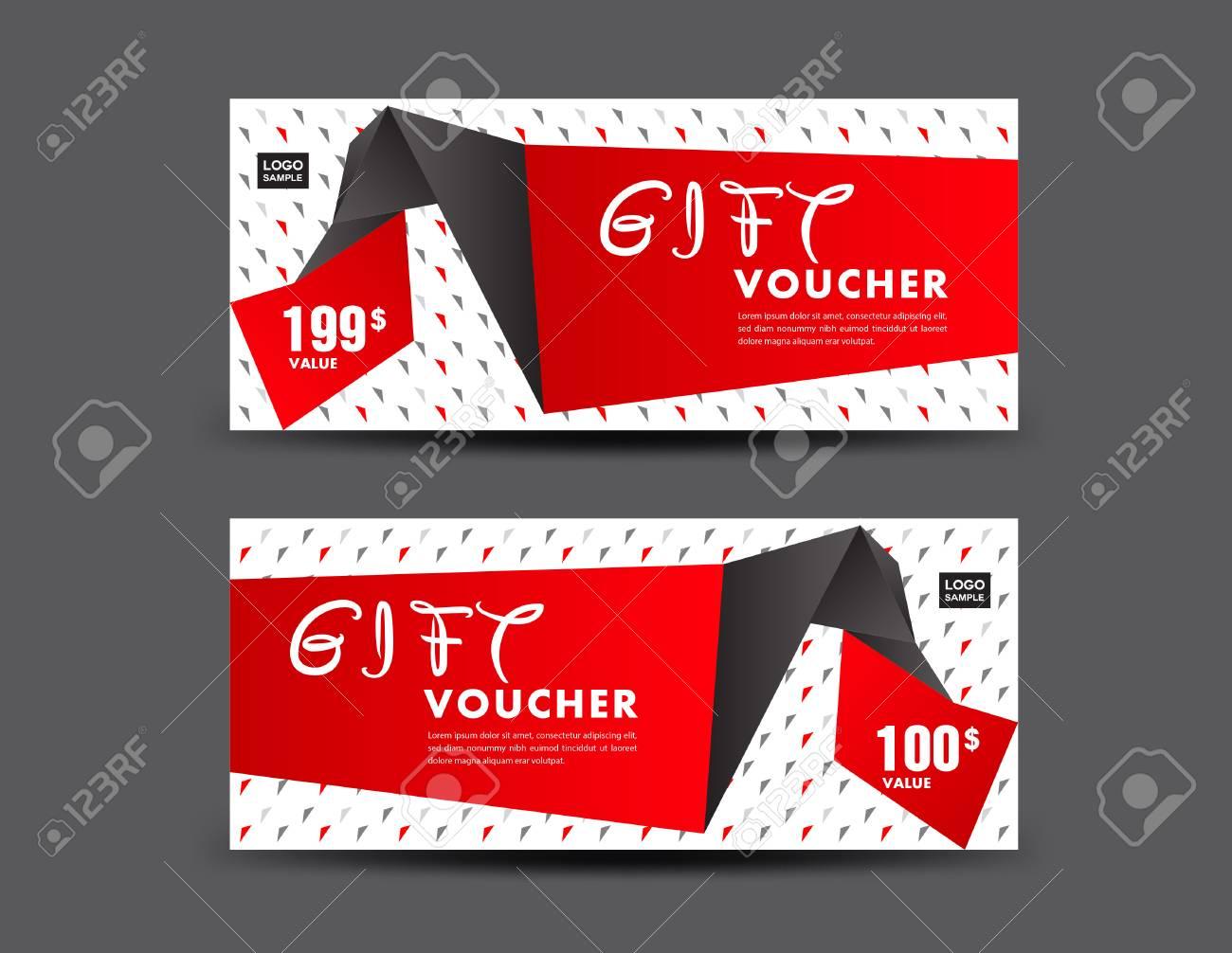 red gift voucher vector illustration discount voucher template